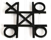 Tic Tac Toe Trivet - X & O Design, Cast Iron, Footed - Retro Home Kitchen Kitsch Decor or Use