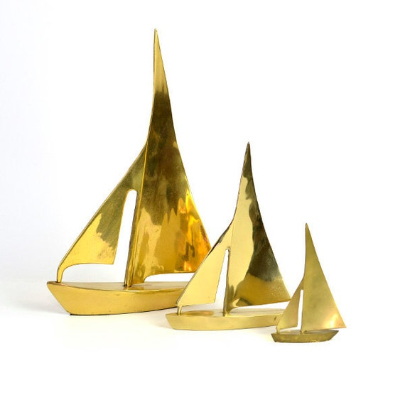 Brass Sailboat Trio - Large, Shiny Gold Color Boat Statues, SET of 3 - Vintage Home, Lake Cottage, or Office Decor Accent
