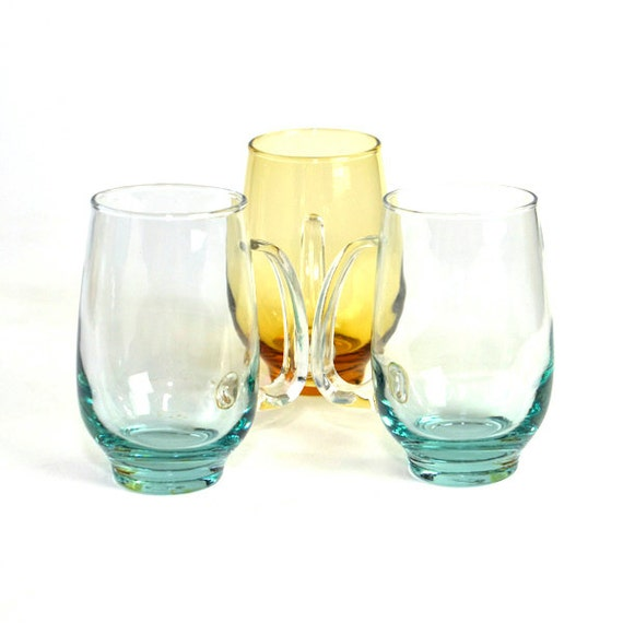 Aqua & Amber Glass Retro Tumblers by Libbey, SET OF 3 - Tempo Style, Unique Handle, Bar Ware - Vintage Home Kitchen Decor or Party Serving