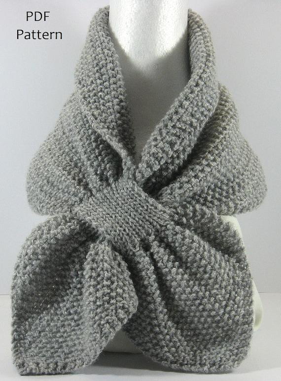 Textured Knit Keyhole Scarf Pattern Moss Stitch Keyhole