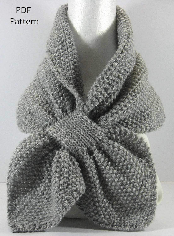 Textured Knit Keyhole Scarf Pattern - MOSS STITCH Keyhole Scarflette ...