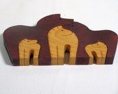 wooden puzzle scroll saw cut 5 zebras maple wood