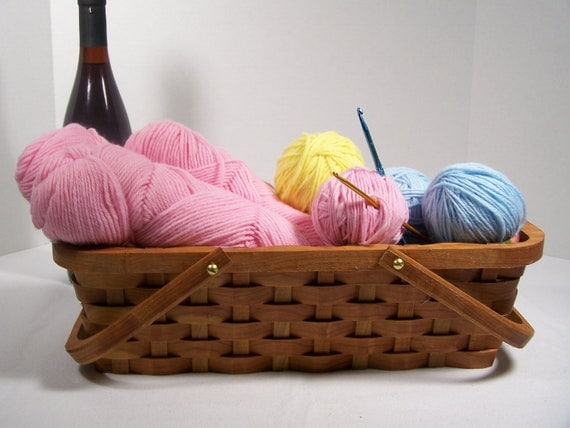 Knitting tote supplies basket handles Cherry wood