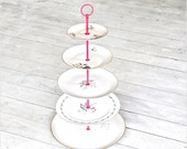 Old Lace: 5 Tier Cupcake Display Stand, Big Roomy Cake Stand, Pink Black White Gold Platinum Floral