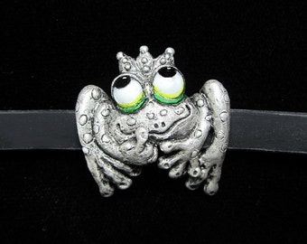 "Whimsical Silver Frog Bracelet ""Kiss Me, I'm A Prince"" On Silicone Rubber With Steel Clasp"