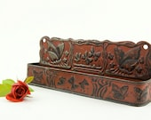 Antique - Embossed dark red  tin comb box - collectible