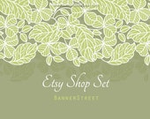 Etsy Banner Shop - Natural tree leaves, modern banners with avatars, premade package - Set 074