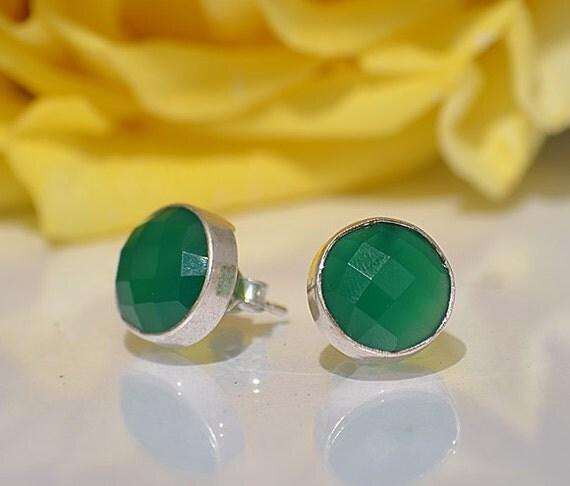 Faceted Green Onyx  Sterling Silver bezel set Stud Post Earrings