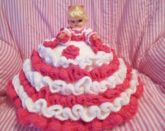 Crochet 10 Inch Bed Pillow Doll In Pink and White