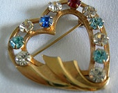 Classic Gold Tone Heart Shaped Brooch with Assorted Color Rhinestones