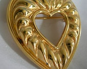 Classic Gold Tone Heart Shaped Brooch Pin