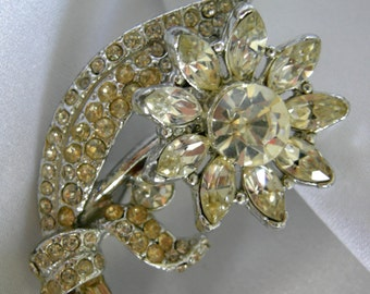 Marquise, Baguette and Round Cut Rhinestones Floral Motif Silver Tone Brooch Pin - Unsigned - Vintage