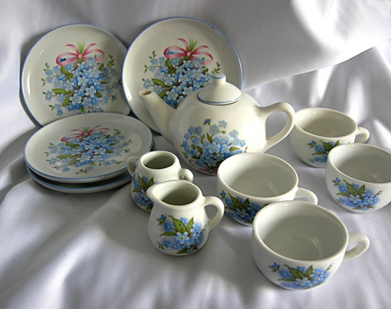 11 Piece Childrens Porcelain Ceramic Tea Set By