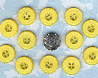 Set of 12 Old  Yellow Plastic  Buttons