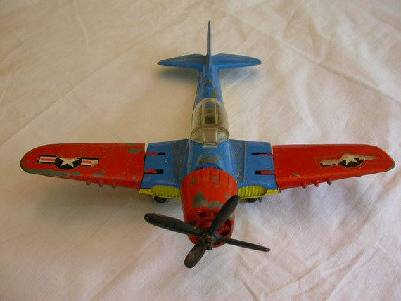 Vintage Hubley Cast Military Toy Airplane Complete Ready for Restoration