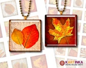 1 inch, 1.5 inch, 7/8 inch Square Images AUTUMN LEAVES Printable Download Digital Collage Sheet for pendants bezel trays magnets paper craft