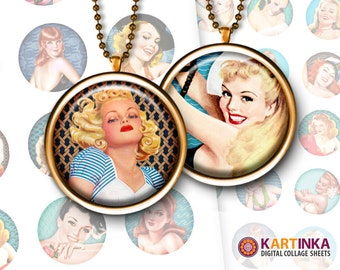 PIN-UP GIRLS Beach Party - 1 inch and 1.5 inch Circles Digital Collage Sheet Printable Download for Pendants Magnets