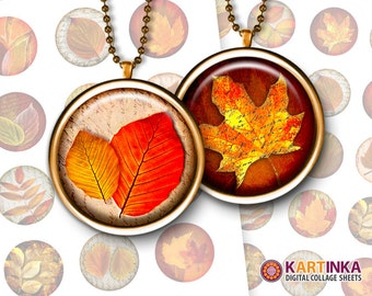 1 inch (25mm), 1.5 inch, 1.25 inch, 7/8 inch Printable digital AUTUMN LEAVES Download images for Round pendants Bezel trays Glass cabochons