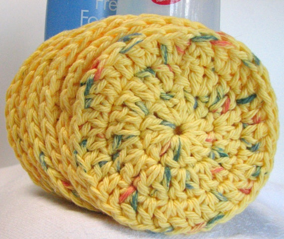 Eco face cloths, scrubbies, 100% cotton, crocheted, reusable and earth friendly, yellow/multi, soft