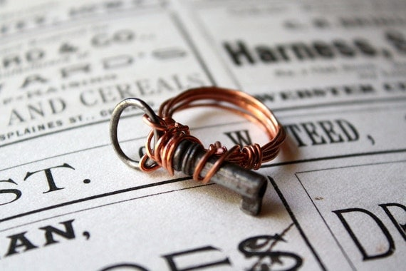 Simple Repurposed Upcycled Copper Wire Wrapped Mini Antique Key Ring Size 6.5
