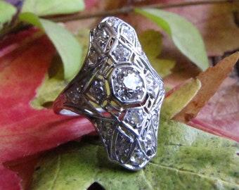 Edwardian Diamond Engagement Ring - Platinum Wedding Ring with Old Mine Cut Diamond - 1.6 carats Antique Engagement
