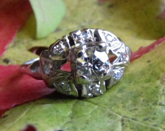 Antique Diamond Engagement Ring - White Gold Edwardian to Art Deco Ring with 1700s to 1800s Diamond