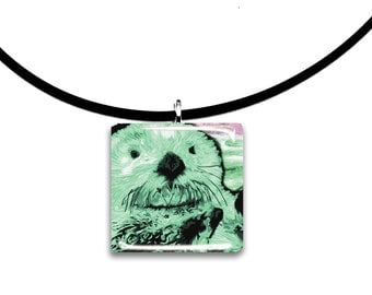 mint green pastels, Sea Otter pendant, hand painted unique artwork, Adorable Otter, Glass tile penant, minty, mint green