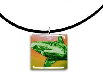 Pink, lemon, Shark pendant, handmade jewelry, Glass tile pendant, lemon and lime green, Sherbert colors