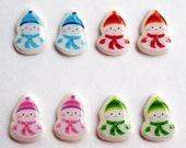 Set of 4 Christmas Snowman Earrings - Red Blue Pink Green - Cute Mini Studs - Clip-on Version Available - Holidays Winter Snow - LittleRubberDuck