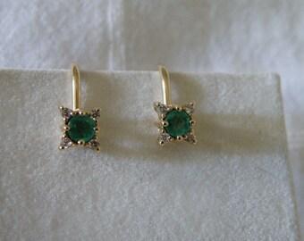 14K Gold Emerald and Diamond Earrings - Emerald .24 ctw and Diamond .06 ctw