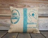 Burlap Coffee Bag Pillow 16X16 Repurposed, Coffee Sack, Throw Pillow, USDA Organic Fairtrade