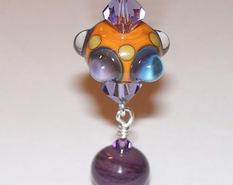 Handmade Orange & Purple Dotted Lampwork Pendant with Swarovski Crystals on a Silver Tone Ball Chain