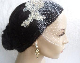 Lace Birdcage Veil / Vintage Inspired Veil. Eloise