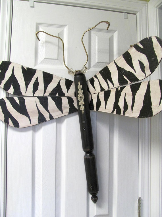 Table Leg Dragonfly Wall Art- Black and White Zebra Animal Print