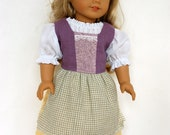 Lavender Hobbit Outfit Medieval Peasant Folk Costume American Girl 18 Inch Doll Dress