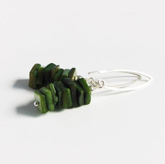 Emerald Green Shell Earrings - Sterling Silver - Dangle Earrings - Handmade Jewelry