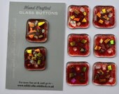 SOLD, Commissioned 8 x  Fused glass Red Dichroic Buttons