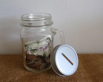 Mason Jar Bank, piggy bank, coin bank, glass jar with lid, savings bank