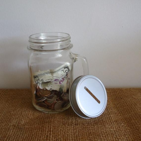 Mason jar bank piggy bank coin bank glass jar with lid for Mason jar piggy bank