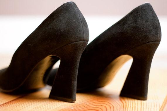 1980s Vintage YSL Black Suede Heels 7