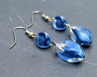 Antique Blue German Glass Dangle Earrings