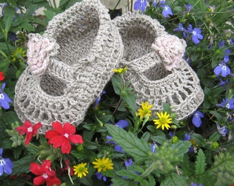 Linen Baby Girl Shoes, Baby Girl Gift, Christening/Blessing Baby Shoes