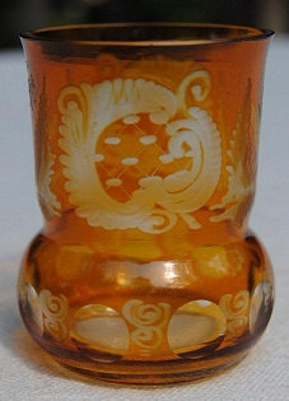 Amber Flashing - Cut to Clear - Mini Vase, Candle Holder Votive or Shot Glass - Bohemian Czech Art Glass
