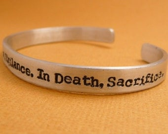 In War, Victory. In Peace, Vigilance. In Death, Sacrifice. - A Hand Stamped Bracelet in Aluminum or Sterling Silver