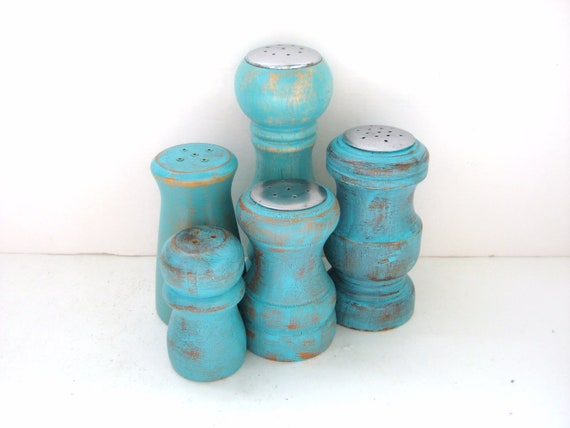 SALE - Salt and Pepper Shakers - 5 Mismatched - Shabby Chic Turquoise