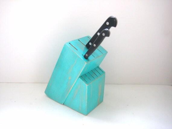 Knife Block - Shabby Chic Turquoise - Kitchen Decor