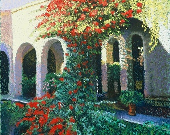 "Fine Art Giclee Print, Mexican Bougainvillaea, Archival Print, Pastel Painting By Jan Maitland, Courtyard, Red Flowers, Patio, 8"" X 10"""
