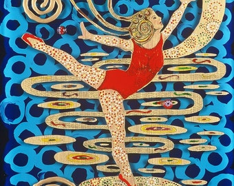 "Dancer Fine Art Giclee Print, Dancer, Reverse Painting on Glass By Jan Maitland, Dancer in Red, Figure, Art Deco, 5""X7"" Archival Print"