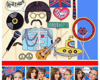 The Beatles inspired music photo booth props - perfect for a themed birthday bash of your favorite band or a retro 60s party