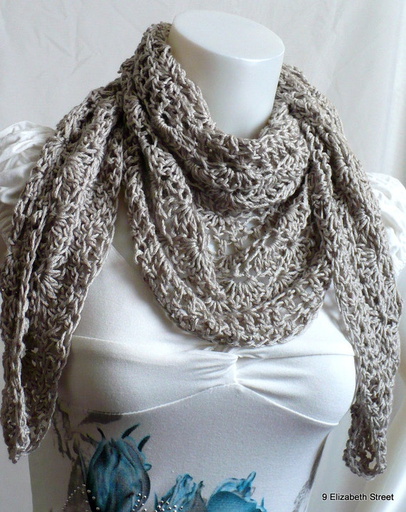 Hand Crocheted Shawl, Gray Tea Shawl, Crochet Neck Shawl